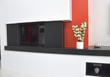granit noir plan cheminée
